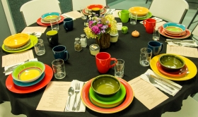 Place settings came from GROW members' own china.