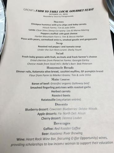 The Farm to Table menu featured foods from the community and the GROW garden.